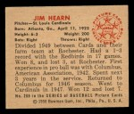 1950 Bowman #208  Jim Hearn  Back Thumbnail