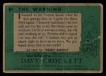 1956 Topps Davy Crockett #9 GRN The Warning   Back Thumbnail