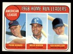 1969 Topps #5  1968 AL Home Run Leaders    -  Frank Howard / Willie Horton / Ken Harrelson Front Thumbnail