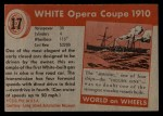 1953 Topps World on Wheels #17  White Opera Coupe 1910  Back Thumbnail