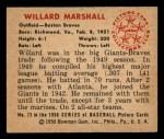 1950 Bowman #73  Willard Marshall  Back Thumbnail