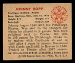 1950 Bowman #122  Johnny Hopp  Back Thumbnail
