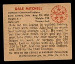 1950 Bowman #130   Dale Mitchell Back Thumbnail