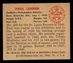 1950 Bowman #158  Paul Lehner  Back Thumbnail