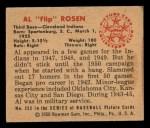 1950 Bowman #232  Al Rosen  Back Thumbnail