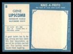 1961 Topps #8  Gene Lipscomb  Back Thumbnail
