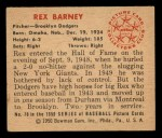 1950 Bowman #76  Rex Barney  Back Thumbnail