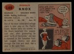 1957 Topps #149   Ronnie Knox Back Thumbnail