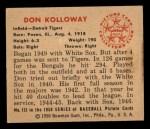 1950 Bowman #133  Don Kolloway  Back Thumbnail