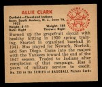 1950 Bowman #233  Allie Clark  Back Thumbnail