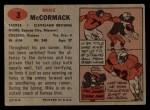1957 Topps #3   Mike McCormack Back Thumbnail