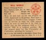 1950 Bowman #87   Bill Werle Back Thumbnail