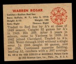 1950 Bowman #136   Warren Rosar Back Thumbnail