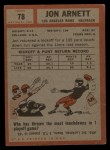 1962 #78  Jon Arnett  Back Thumbnail
