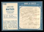 1961 Topps #158  Archie Matsos  Back Thumbnail