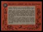 1961 Topps #31  Dollard St.Laurent  Back Thumbnail