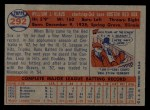 1957 Topps #292  Billy Klaus  Back Thumbnail