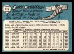 1965 Topps #115   Bobby Richardson Back Thumbnail