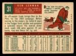 1959 Topps #31  Ken Lehman  Back Thumbnail