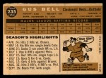 1960 Topps #235   Gus Bell Back Thumbnail