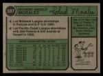 1974 Topps #387 WASH Rich Morales  Back Thumbnail