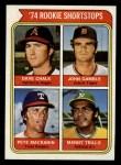 1974 Topps #597   -  Dave Chalk / John Gamble / Pete Mackanin / Manny Trillo Rookie Shortstops Front Thumbnail