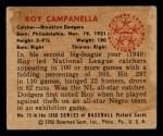 1950 Bowman #75   Roy Campanella Back Thumbnail
