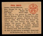 1950 Bowman #128  Phil Masi  Back Thumbnail