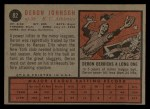 1962 Topps #82   Deron Johnson Back Thumbnail