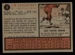 1962 Topps #9  Jim Davenport  Back Thumbnail