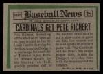 1974 Topps Traded #348 T  Pete Richert Back Thumbnail