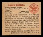 1950 Bowman #59  Ralph Branca  Back Thumbnail