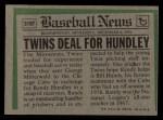 1974 Topps Traded #319 T  Randy Hundley Back Thumbnail