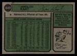 1974 Topps #440  Jim Kaat  Back Thumbnail