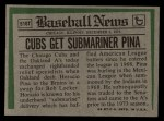 1974 Topps Traded #516 T  Horacio Pina Back Thumbnail