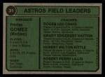 1974 Topps #31  Astros Field Leaders  -  Preston Gomez / Roger Craig / Grady Hatton / Hub Kittle / Bob Lillis Back Thumbnail