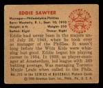 1950 Bowman #225   Eddie Sawyer Back Thumbnail