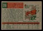 1959 Topps #316 OPT Ralph Lumenti  Back Thumbnail