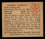 1950 Bowman #24  Johnny Schmitz  Back Thumbnail