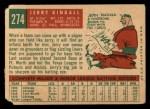 1959 Topps #274  Jerry Kindall  Back Thumbnail