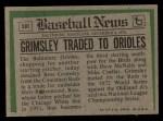 1974 Topps Traded #59 T Ross Grimsley  Back Thumbnail
