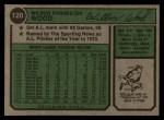 1974 Topps #120  Wilbur Wood  Back Thumbnail