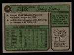 1974 Topps #34   Andy Kosco Back Thumbnail