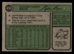 1974 Topps #232   Steve Brye Back Thumbnail