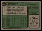 1974 Topps #465   Dick Bosman Back Thumbnail