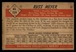 1953 Bowman #129  Russ Meyer  Back Thumbnail