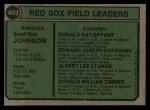 1974 Topps #403   -  Darrell Johnson / Don Bryant / Eddie Popowski / Lee Stange / Don Zimmer Red Sox Leaders   Back Thumbnail
