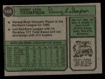 1974 Topps #168   Danny Thompson Back Thumbnail