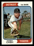 1974 Topps #367  Norm Cash  Front Thumbnail