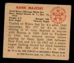 1950 Bowman #92  Hank Majeski  Back Thumbnail